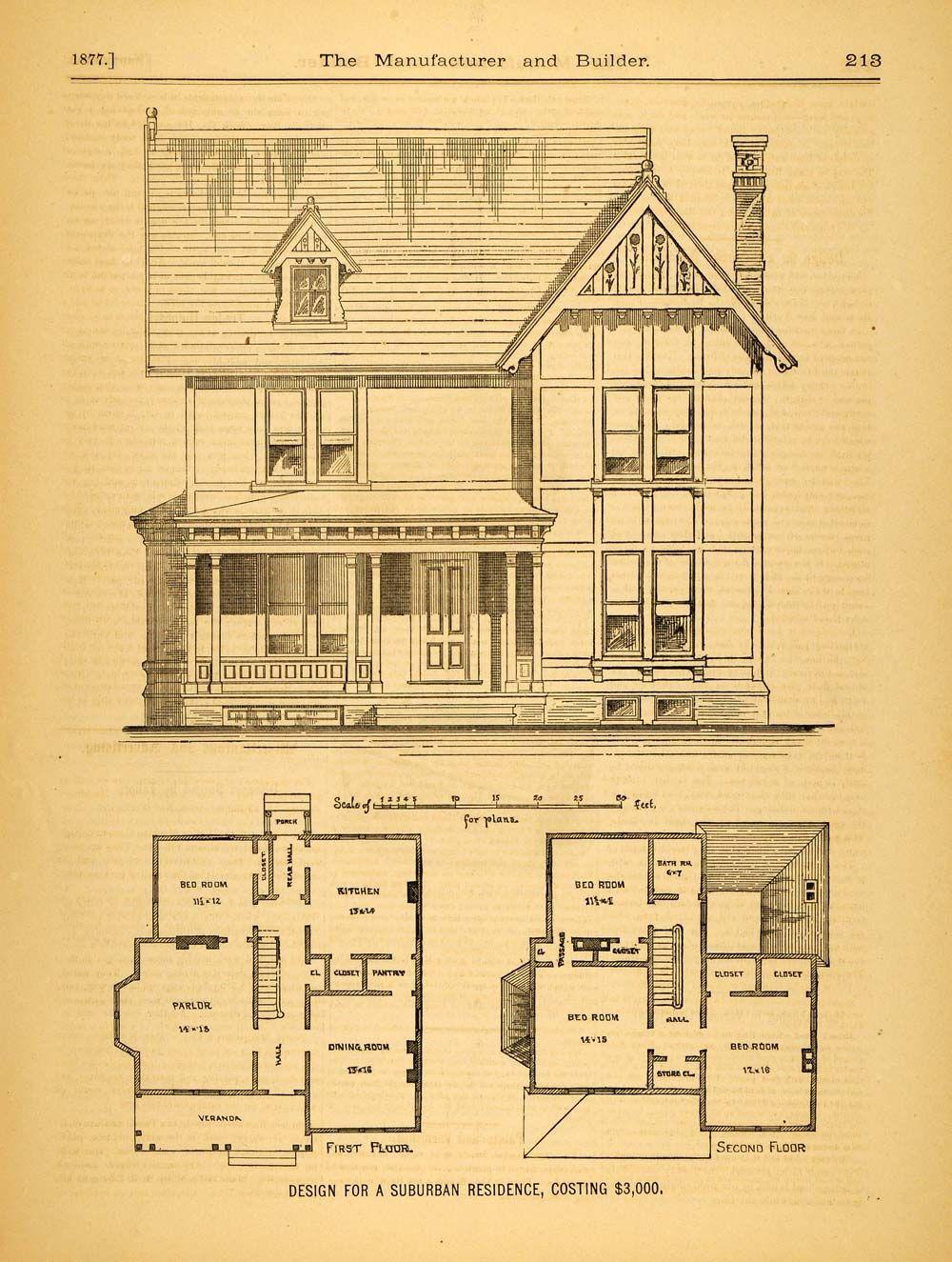 1877 print victorian suburban house c m morgan for Suburban house blueprints