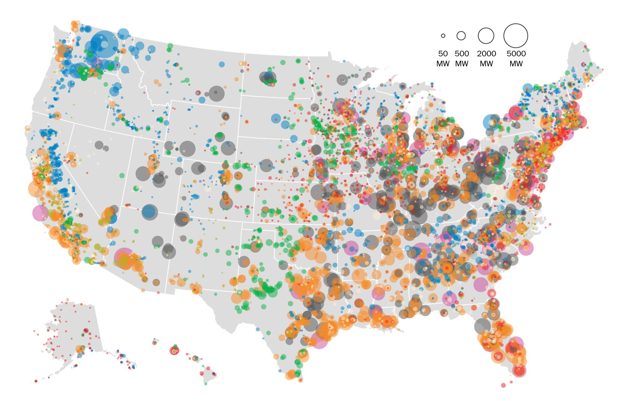 Mapping How The United States Generates Its Electricity Data - Us map data visualization