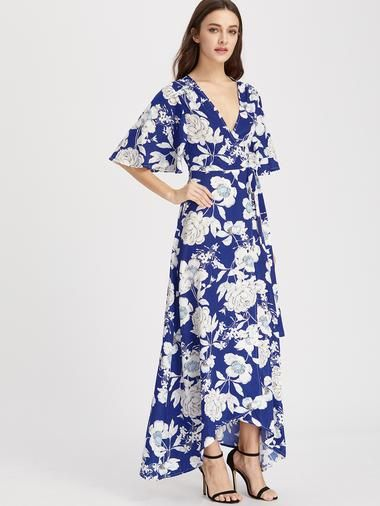 df81582da0 Flower Print Flutter Sleeve Surplice Wrap Dress | Fashion at ...