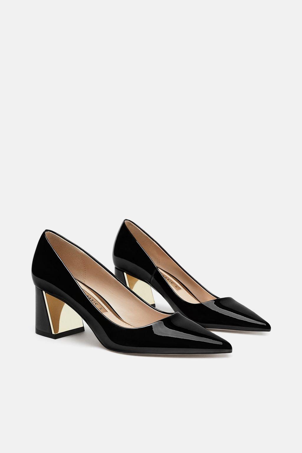 Negra Tacon De Zapatos Zara Mujer Ancho Excelente Primavera