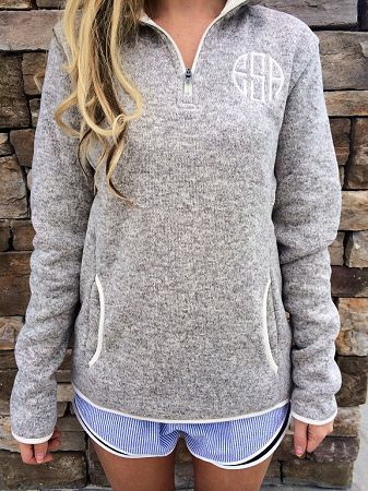 Charles River Monogrammed Oatmeal Heathered Fleece Quarter Zip ...