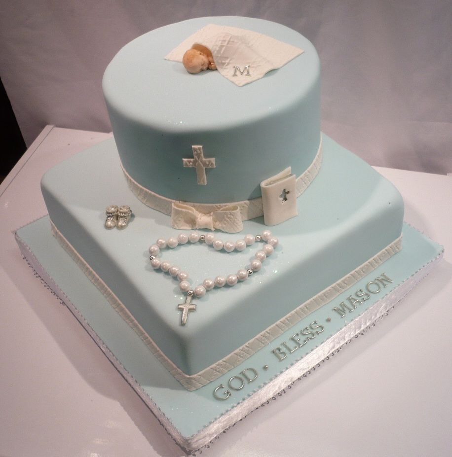Baby Boy Baptism Cakes Regligious Occasions Boy Blue Round And