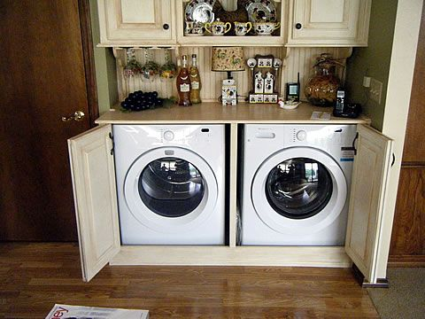 Cabinets for washer and dryer in the kitchen laundry for Kitchen cabinet washing machine