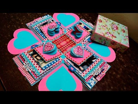 Explosion exploding box card diy paper crafts birthday