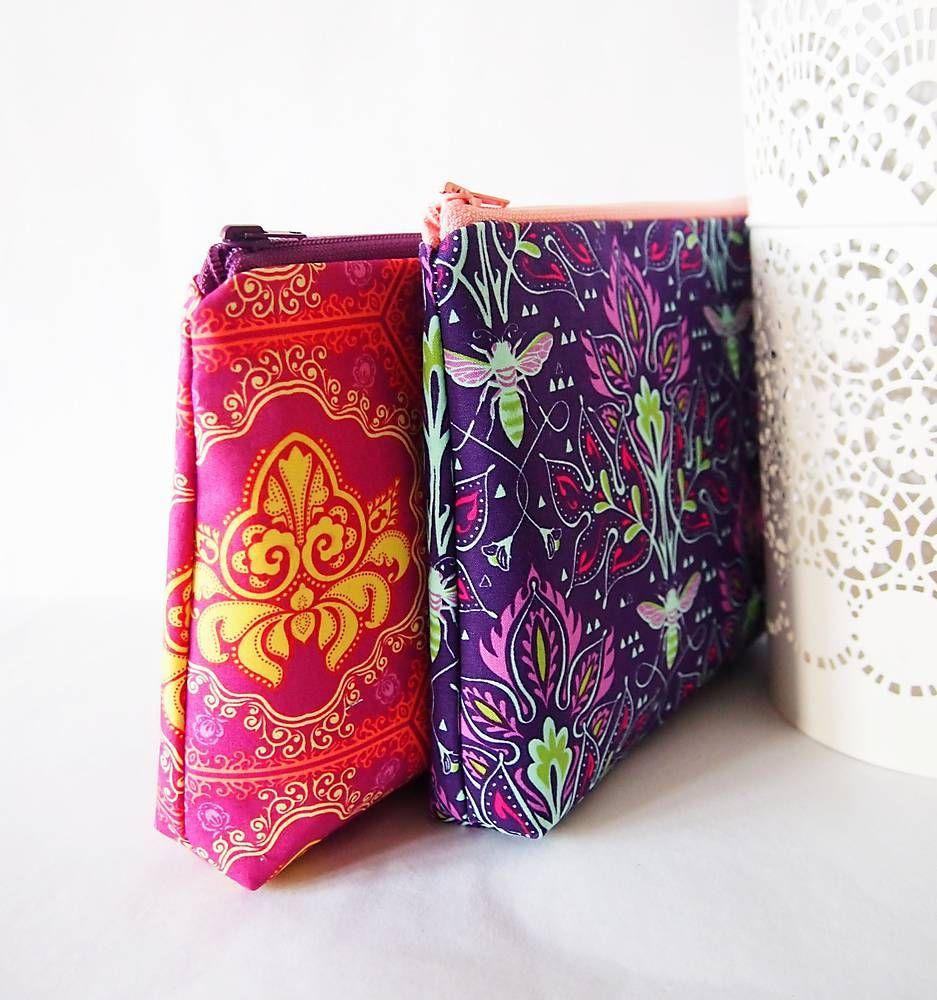 Taštičky - kozmetické tašky veľké - ružová a fialová - 5038251_