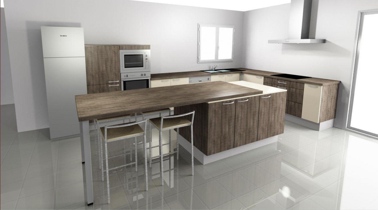Photo Vue De La Cuisine Avec La Table En Ouverture Inter - Ilot central avec table rallonge pour idees de deco de cuisine