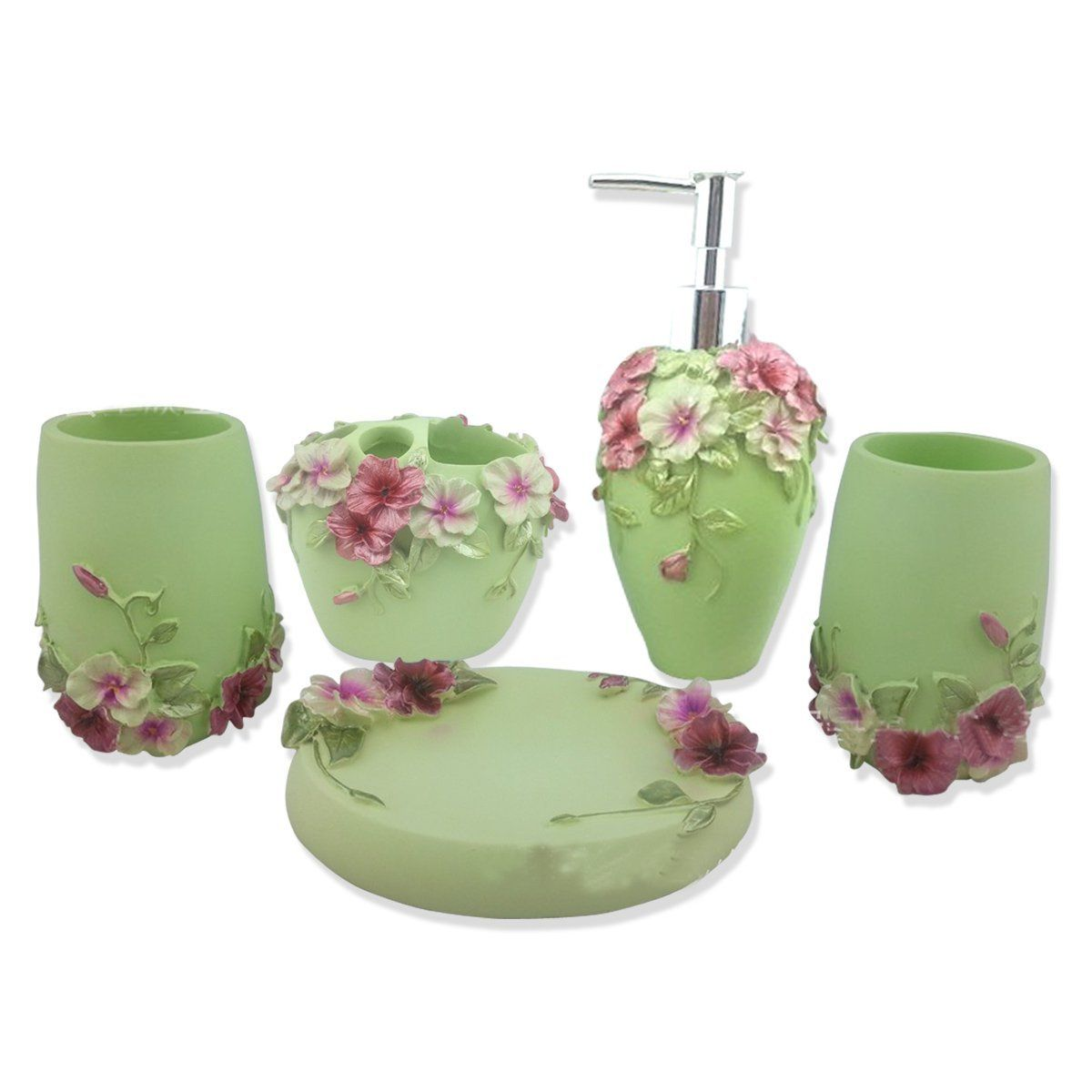 Resin Bathroom Accessories Hqdeal 5pc Set Acrylic Bathroom Accessories Bathroom Set Flowers