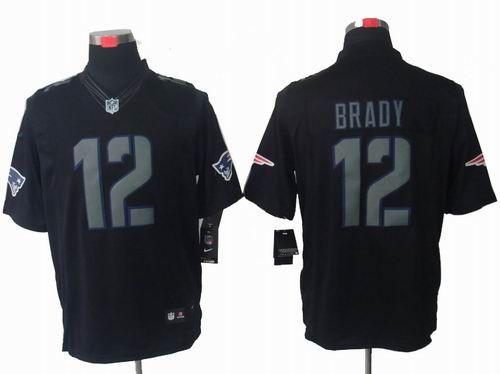 14536be30 Nike New England Patriots 12  Tom Brady black Impact Limited jerseys   22.5