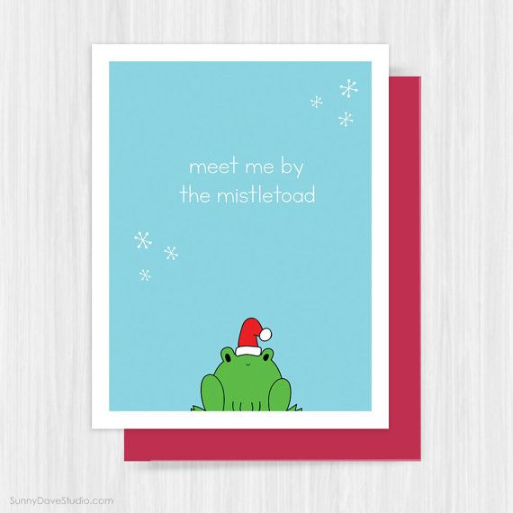 Funny Xmas Gifts For Her Part - 33: Funny Christmas Card For Boyfriend Girlfriend Wife Husband Love Pun Fun  Cute Frog Handmade Greeting Cards Holiday Xmas Gift Gifts Her Him