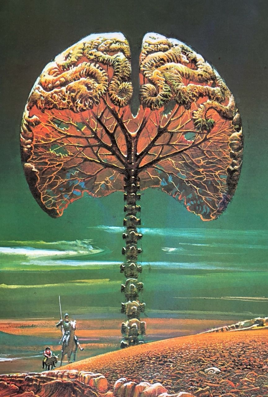 Art by Bruce Pennington for Out of Their Minds by Clifford Simak Pic from Visions of The Future