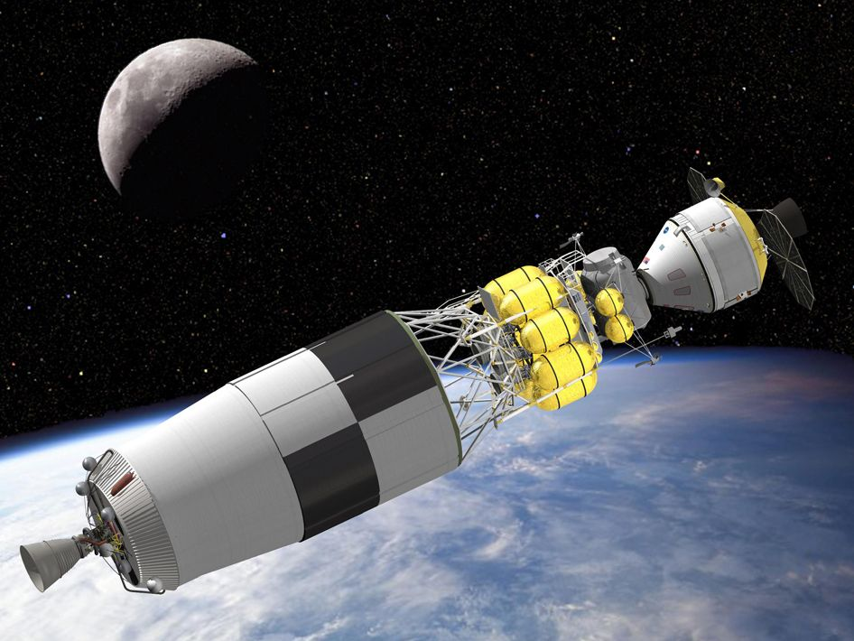 Ares V Earth Departure Stage    A concept image shows the Ares V Earth departure stage and lunar surface access module docked with the Orion crew exploration vehicle in Earth orbit. The departure stage, powered by a J-2X engine, is needed to escape Earth's gravity and send the crew vehicle and lunar module on their journey to the moon.