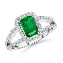 Angara Diamond Halo Natural Emerald Split Shank Ring in Platinum dTrtbyD