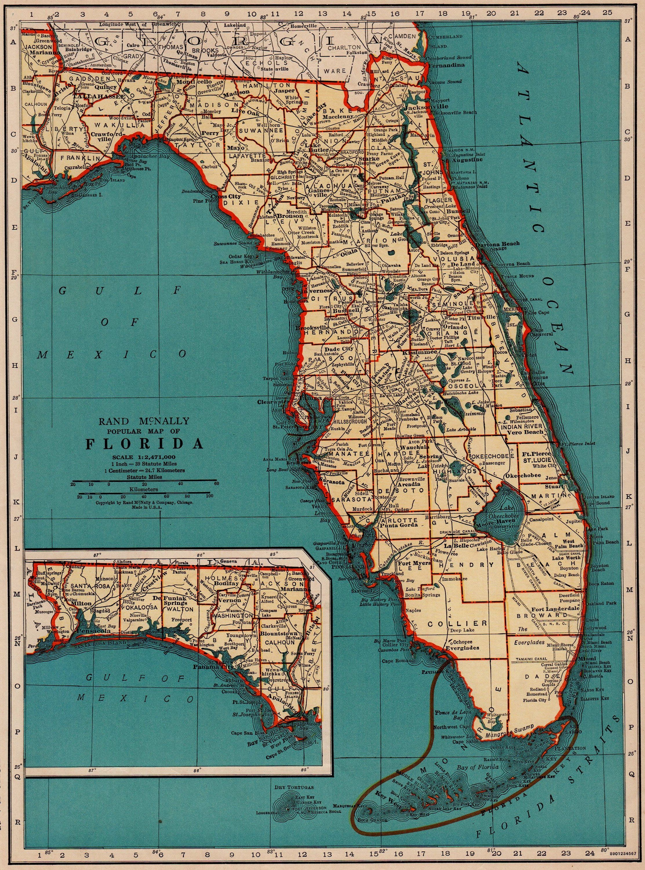 Florida Map State.1940 Vintage Florida Map State Map Of Florida Print Gallery Wall Art