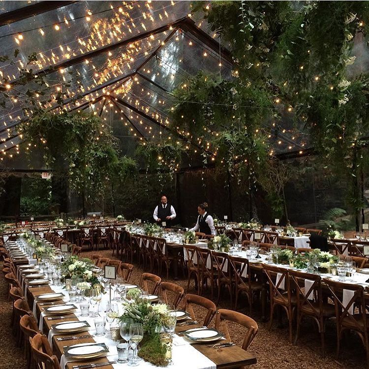Clear Tent And String Light Dining Wedding Reception Set Up Id