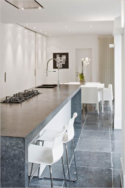 Love The Stone Tile For A Patio: Love The Contrast Of The Gray Floors And White Chairs