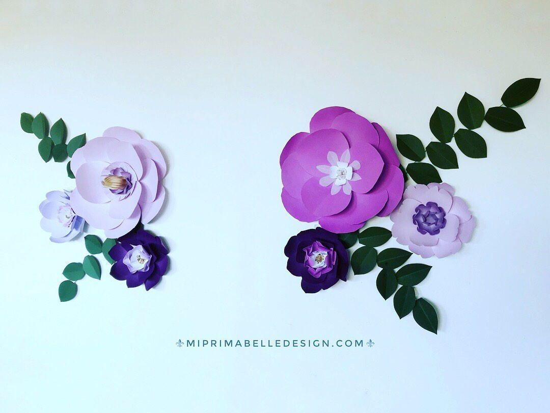 Plum wedding backdrop purple wall decor lilac paper flowers lavender