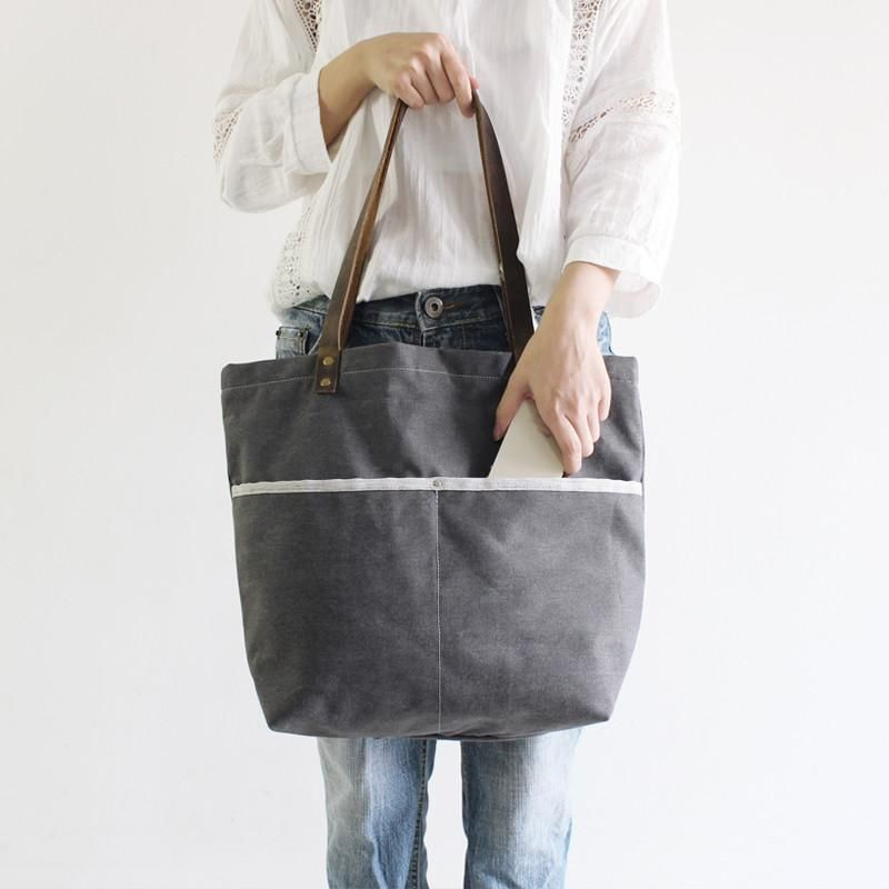 5b48f07323 Image of Waxed Canvas with Leather Tote Bag