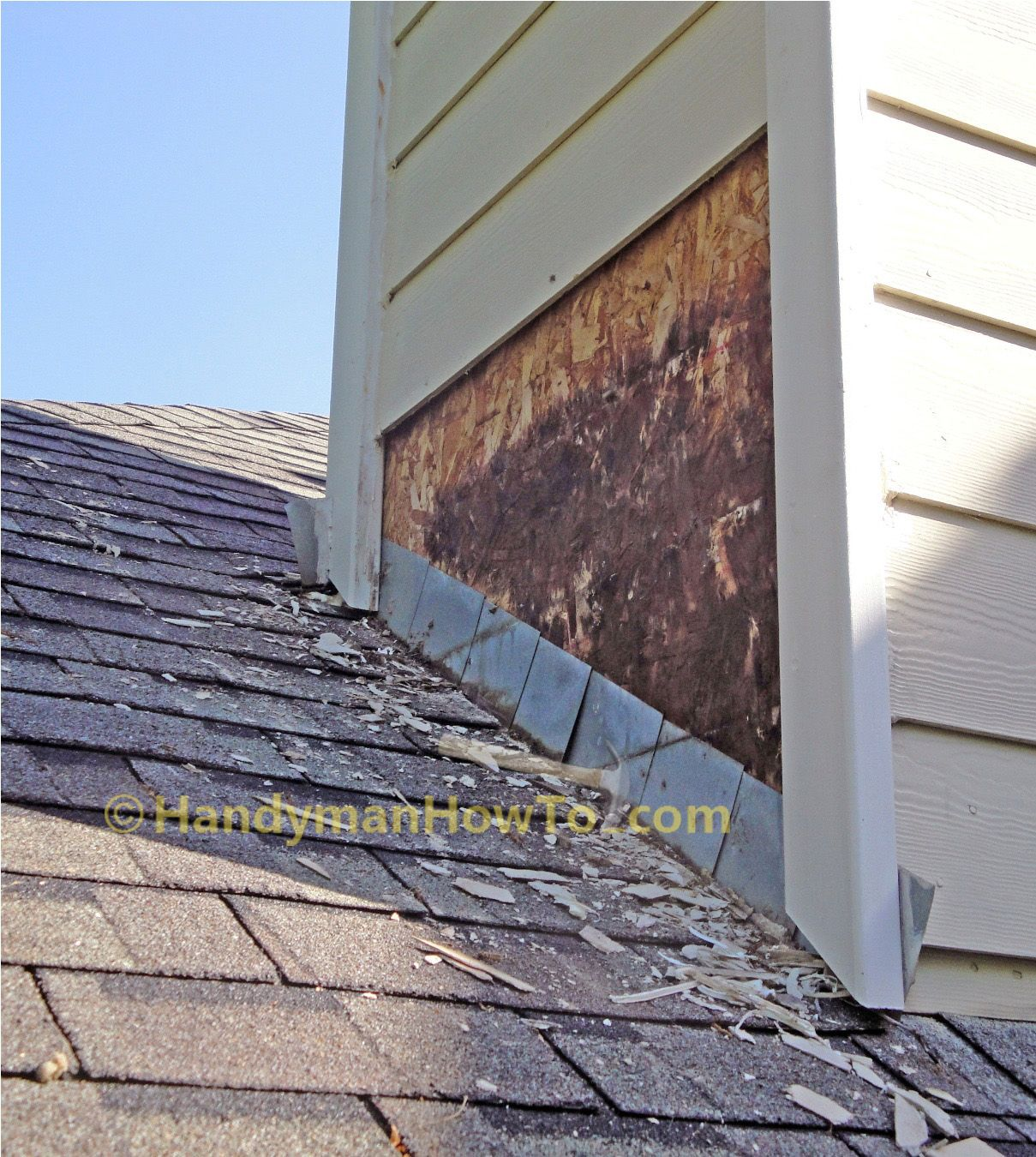 how to repair a leaky chimney the old shingles and step flashing