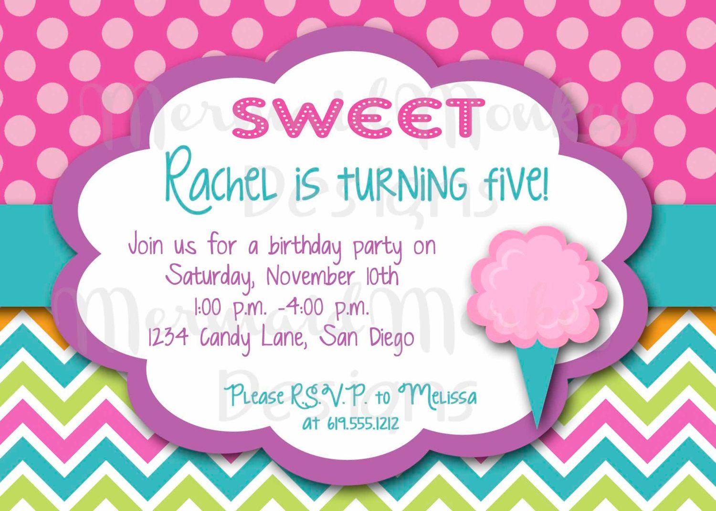 Abigail wants a cotton candy birthday party...Birthday Invitation ...