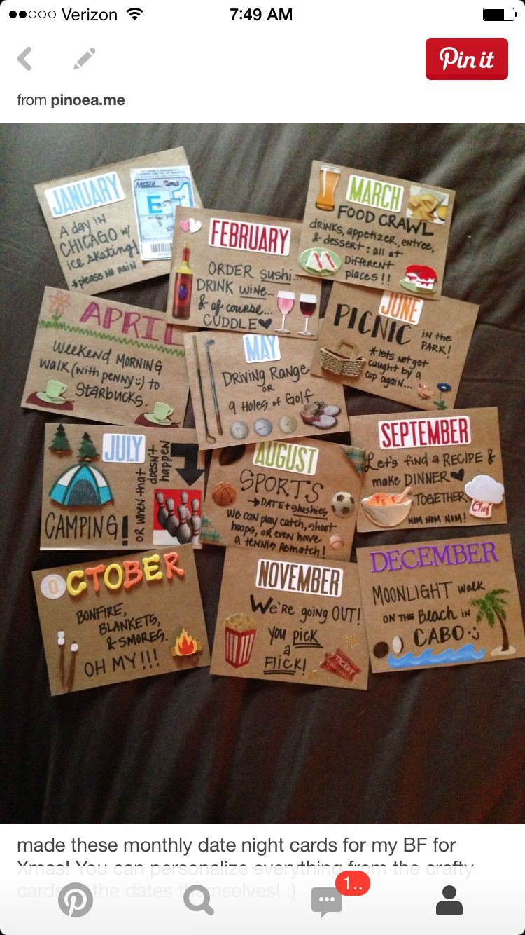 Monthly date night cards … | DIY | Pinte…
