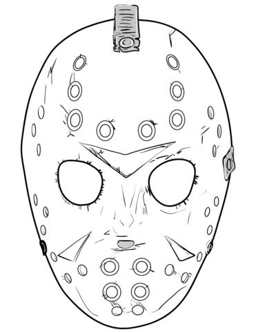 Friday 13th Jason Mask Coloring Page Jason Mask Mask Drawing Mask Tattoo