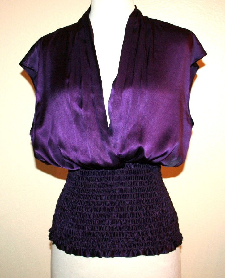 ABS Collection Allen Schwartz Purple Silk Sleeveless Elastic Waist Blouse #ABSbyAllenSchwartz #Blouse