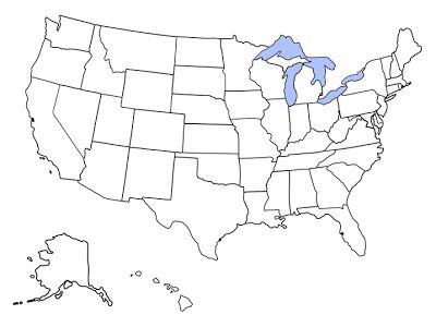 Blank map of the United States | Print | United states map, States on