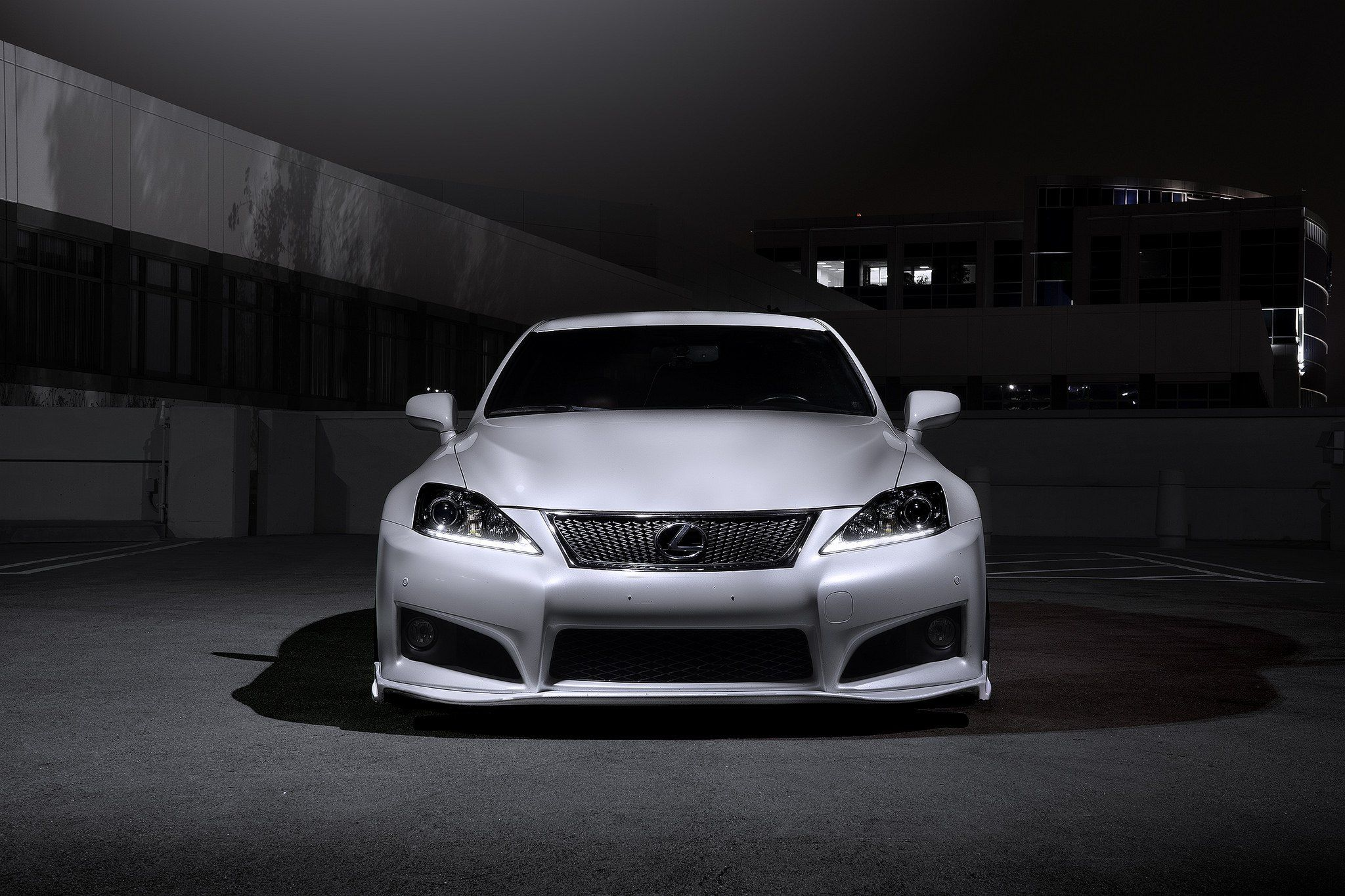 White Lexus IS Gets Chrome Mesh Grille White