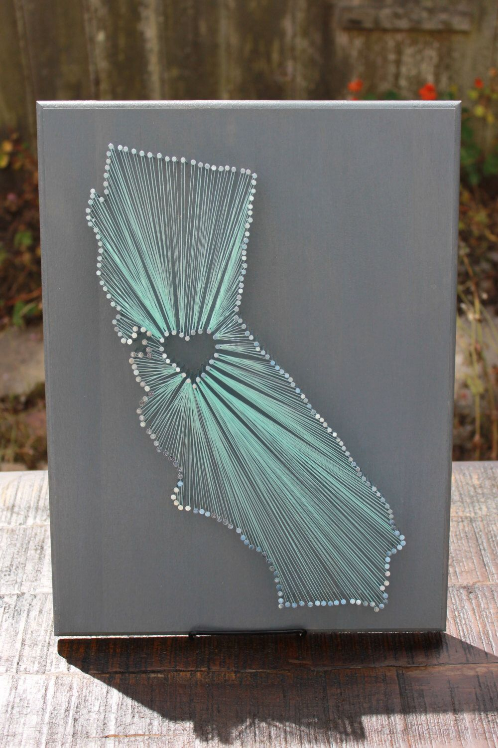 Nail Art Ideas state nail string art California State String Art - any state available - silver nails ...