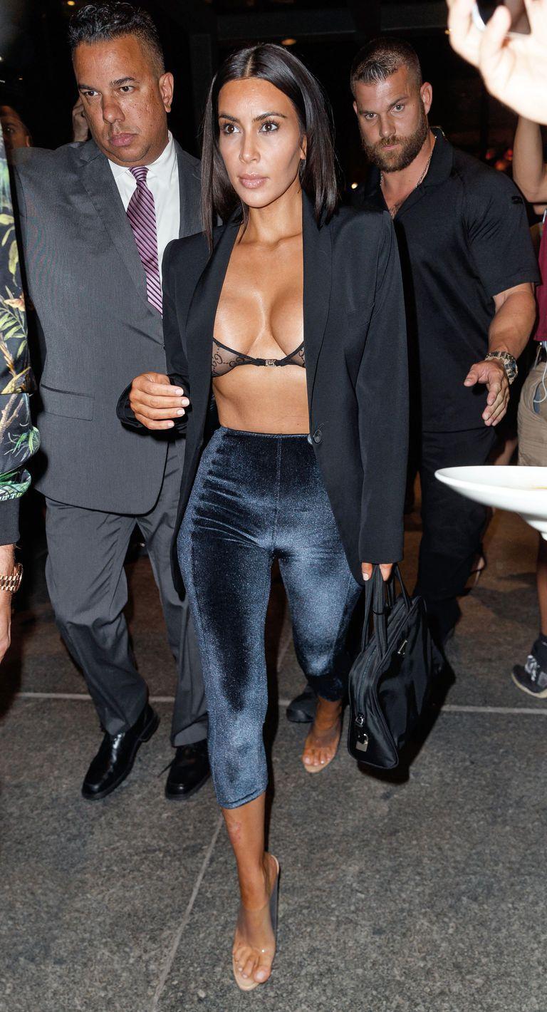 695d56dc4c9dc0 Kim Kardashian West's Best New Looks: In Lisa Marie Fernandez velvet pants,  clear sandals, a lace bra and open navy blazer while leaving Estiatorio  Milos in ...
