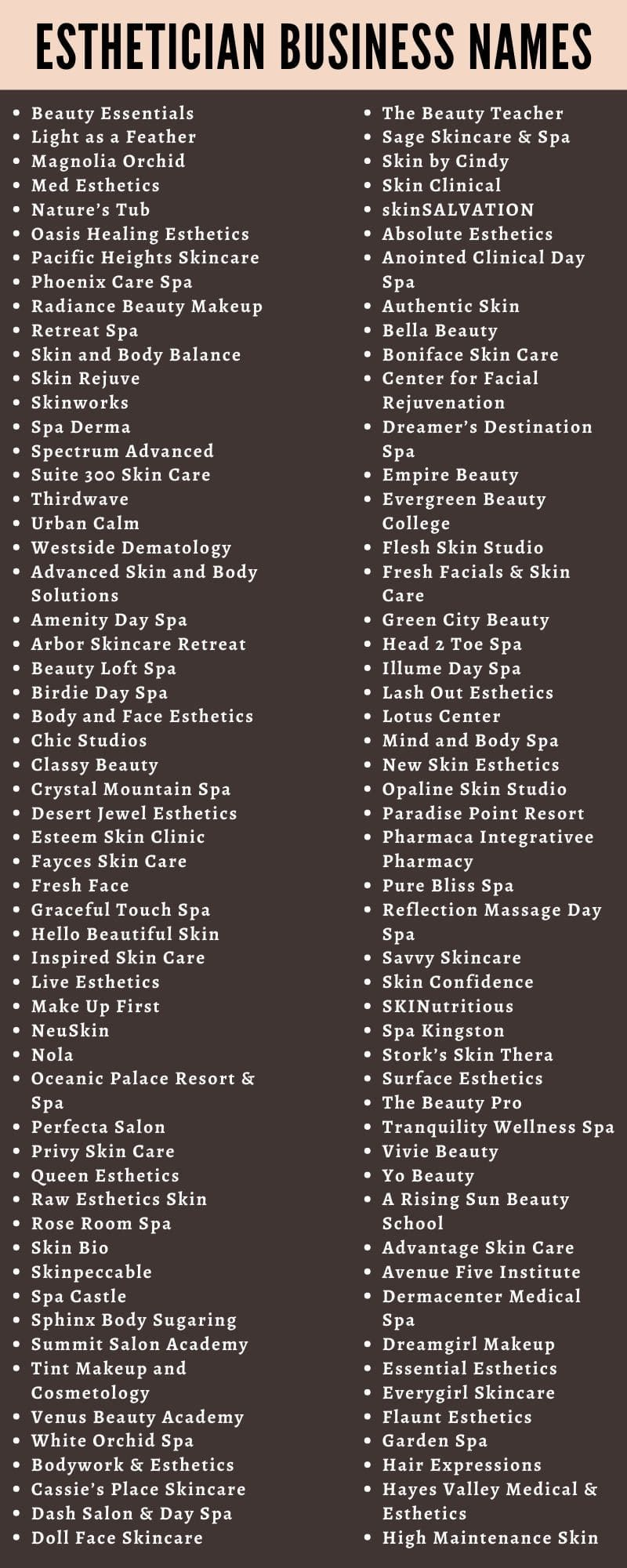 350 Catchy Esthetician Business Names Ideas and Suggestions