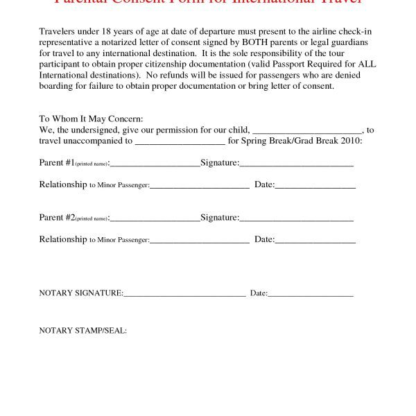 Superior Parental Consent Travel Form Notarized Letter For Parenting Forward Child Regard To Parental Travel Consent