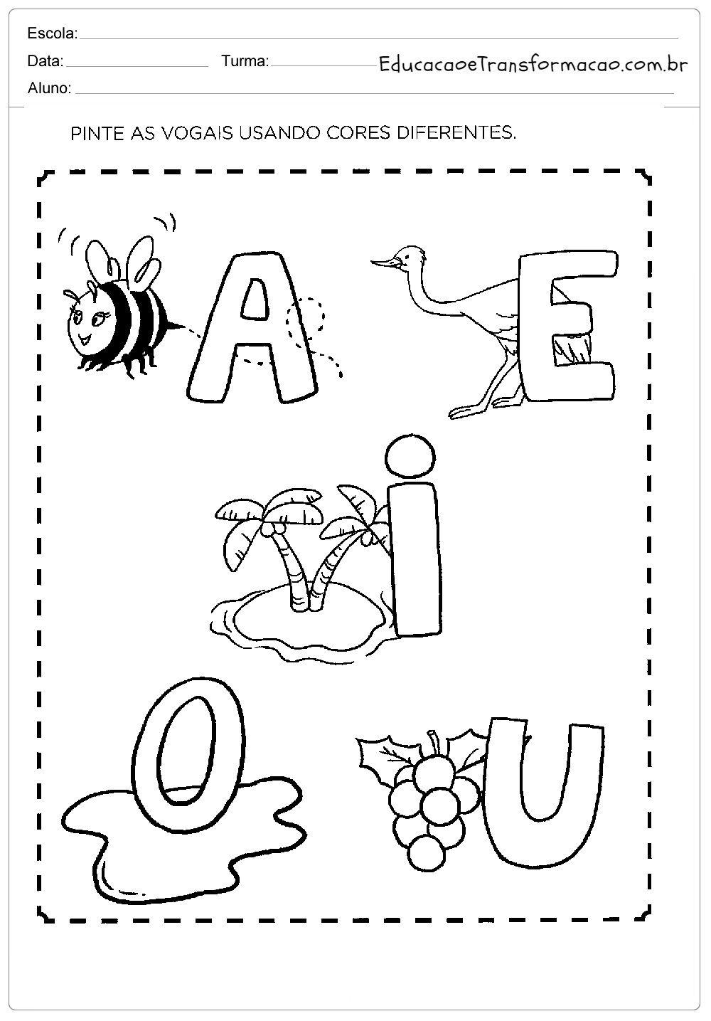 Pinte As Vogais Atividades Com Vogais Com Imagens Atividades