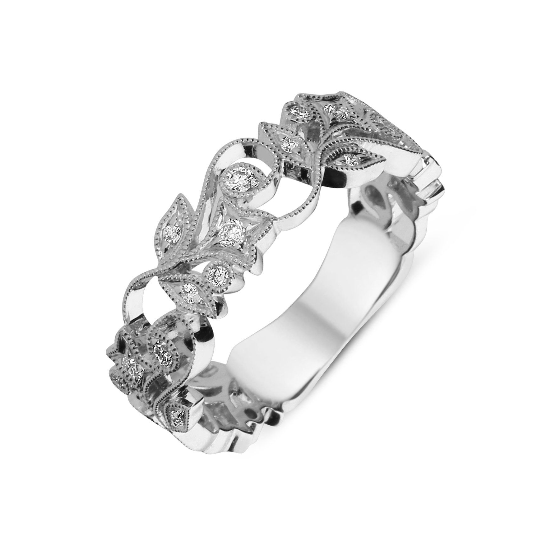 18ct White Gold Diamond Entwined Floral Ring in 2020