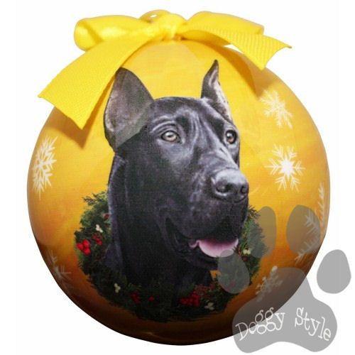 Great Dane Black Shatterproof Dog Breed Christmas Ornament | Dog ...