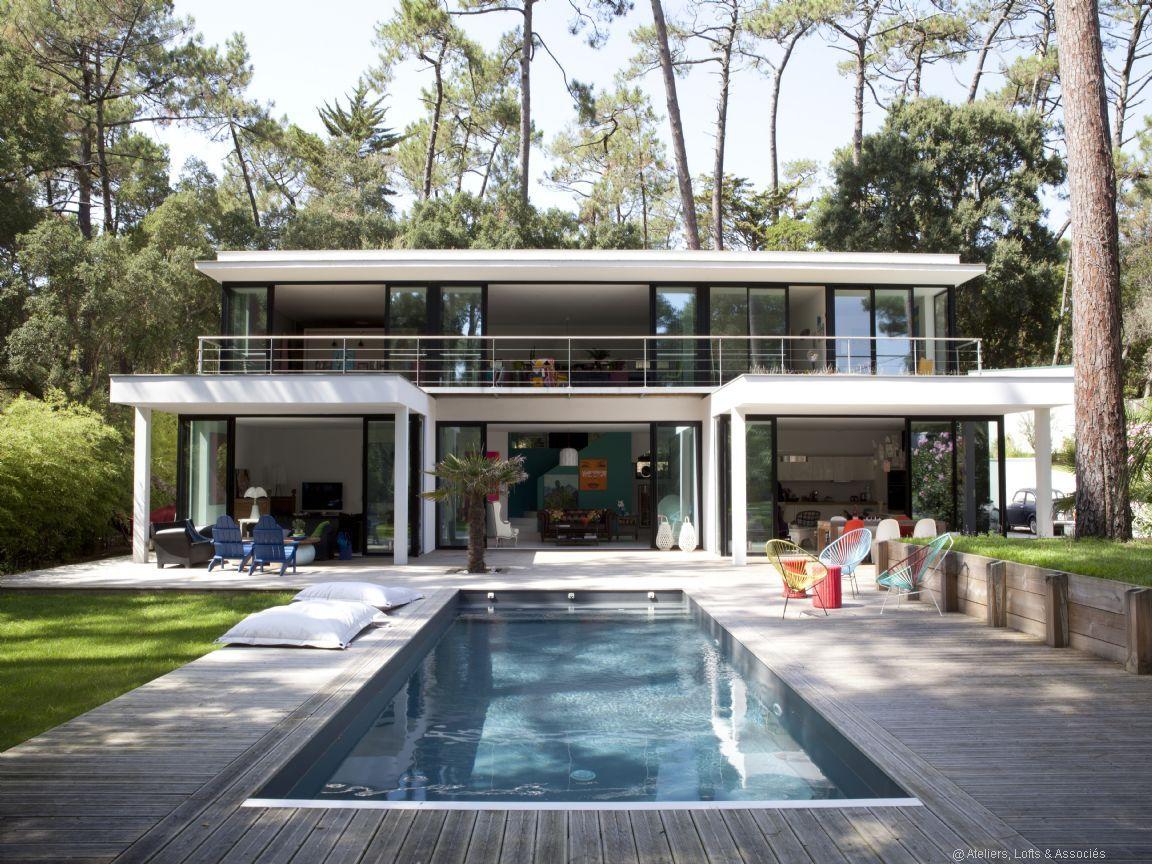 Hossegor entre lac et mer tonnante maison contemporaine for Architecture annees 50