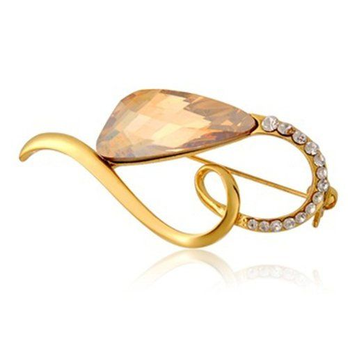 Tanboo High Quality Copper Alloy Heart Shape Design Plated Brooch (Yellow)