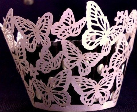 Lace purple butterfly  cupcake wrappers cases baking cups -12 pcs. $8.99, via Etsy.