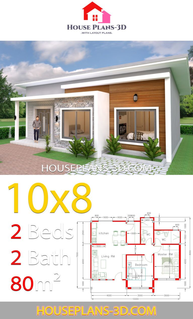 House Plans 10x8 With 2 Bedrooms Shed Roof House Plans 3d Beautiful House Plans House Roof House Plan Gallery