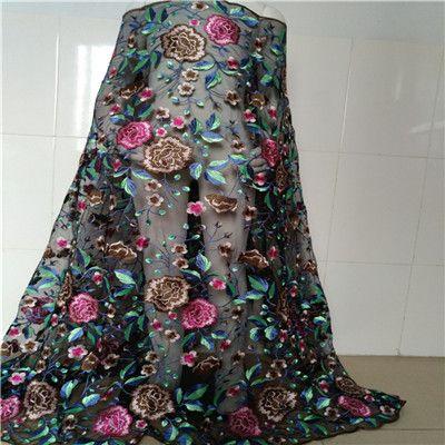 0f60656241a Одежда Швейные и Ткань чистая Пряжа 3D Вышивка шифоновым цветком Кружево  Ткань сетки Материал DIY платье