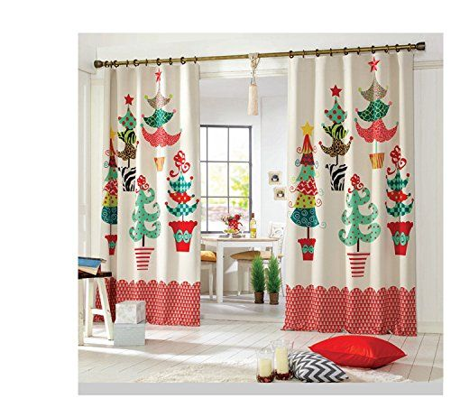 Pureaqu Christmas Tree Window Curtain Hook Process Merry Christmas