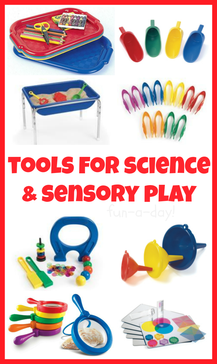 15 Tools for Fun Science Experiments and Sensory Play -- great ideas ...