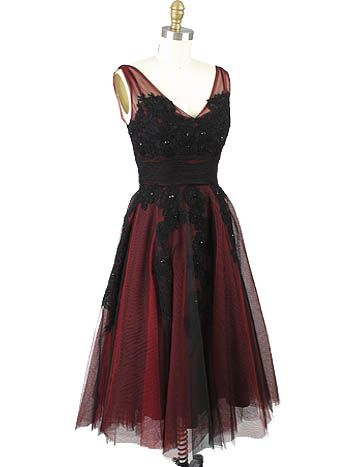 1950s Style Red Black Tulle Tea Length Party Dress | Beaded lace ...