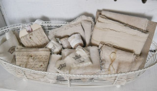 make ribbon out of frayed stamped muslin