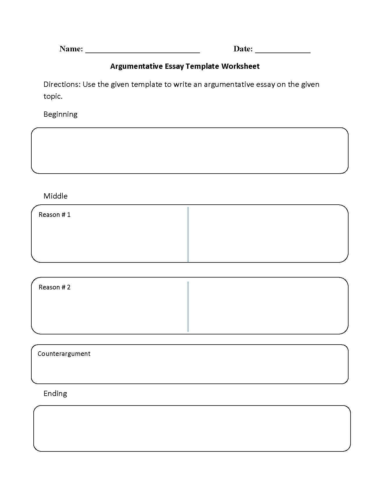 Argumentative Essay Template Worksheets