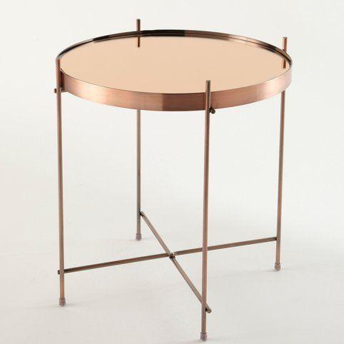Table Basse En Metal Cuivre Et Plateau Miroir 79 Table Basse Miroir Table Basse Gueridon