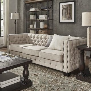 Shop For Knightsbridge Beige Linen Tufted Fabric Nailhead Sofa By Rh  Pinterest Com