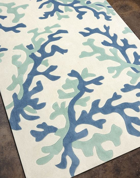 Fusion Collection C Fixation White Sea Green Area Rug Beach Decor Coastal Home