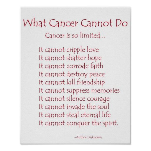 What Cancer Cannot Do Poem Poster Print Uplifting Quotes Cancer