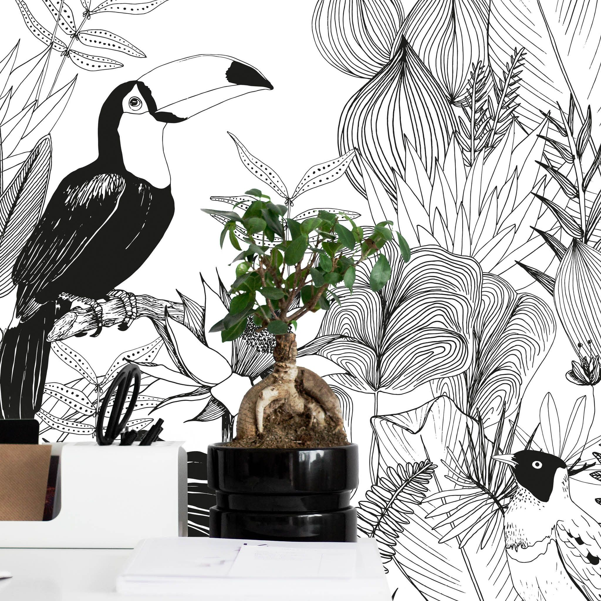 papier peint magn tique jungle un univers sauvage au feuillage dense en noir et blanc pour une. Black Bedroom Furniture Sets. Home Design Ideas